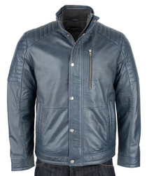 Men's Navy leather jacket