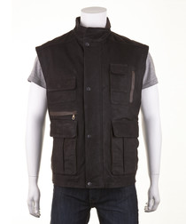 Men's Brown leather waxy gilet