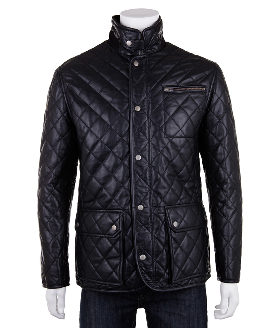 Men's black leather quilted country coat Sale - woodland leather