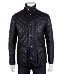 Men's black leather quilted country coat
