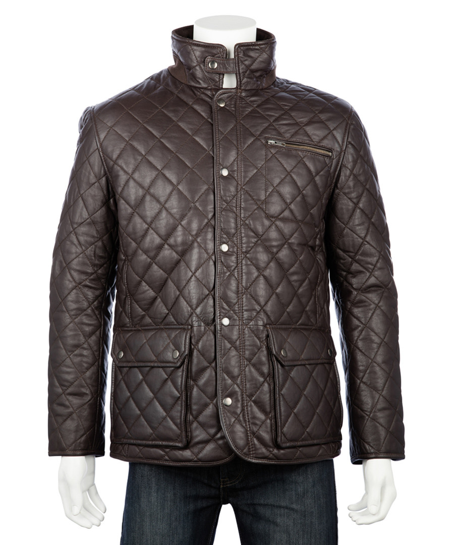 Men's Brown leather quilted country coat Sale - woodland leather