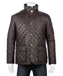 Men's Brown leather quilted country coat