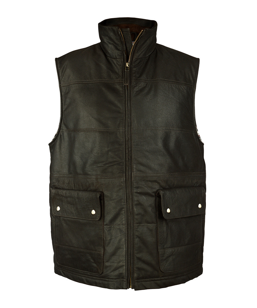 Men's Brown leather puffa gilet Sale - woodland leather