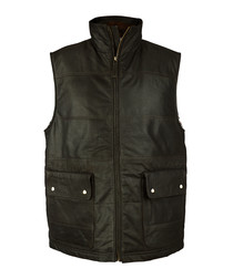 Men's Brown leather puffa gilet