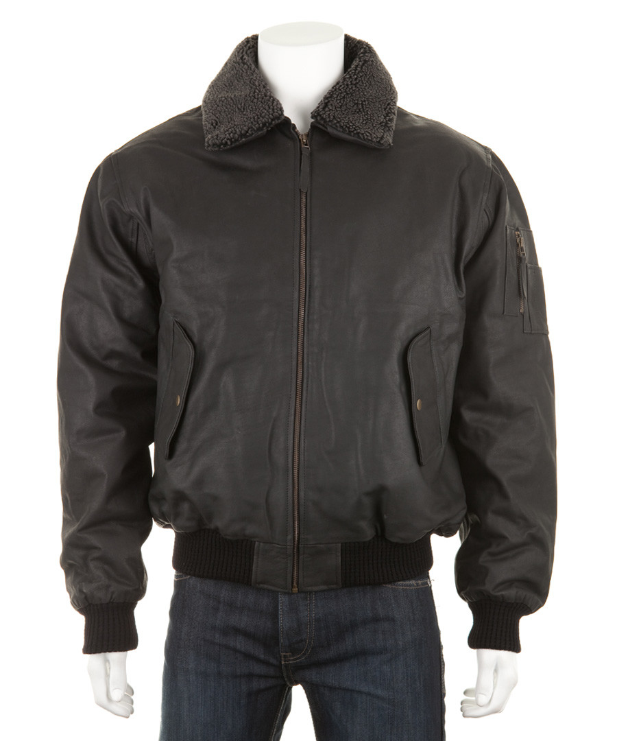 Men's Black leather waxy aviator jacket Sale - woodland leather
