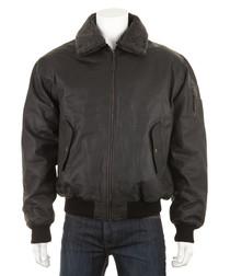 Men's Black leather waxy aviator jacket