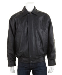 Men's Black leather long sleeve jacket