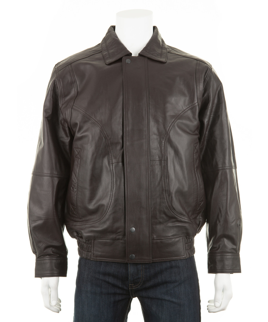 Men's Brown leather long sleeve jacket Sale - woodland leather