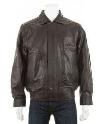 Men's Brown leather long sleeve jacket