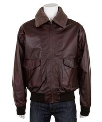 Men's Burgundy leather long sleeve jacket