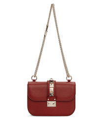 Lock red leather small shoulder bag