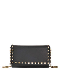Rockstud black leather foldover bag