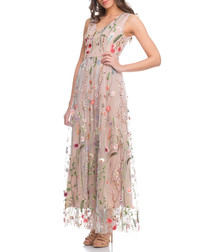 Beige floral embroidered maxi dress