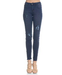Blue cotton blend sequin skinny jeans