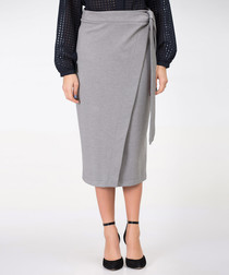 Pebble grey asymmetric pencil skirt
