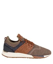 Men's 247 brown & tan suede sneakers