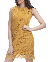 Mustard lace scalloped hem dress