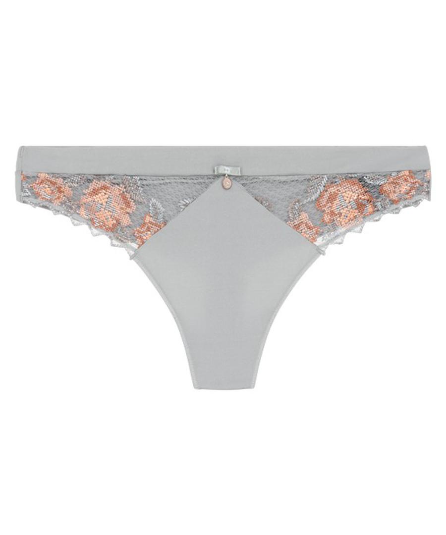 Oxygen grey & salmon thong  Sale - lingadore lingerie