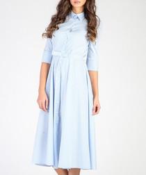 White & light blue cotton blend dress