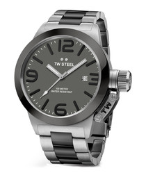 Canteen silver-tone & grey steel watch