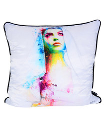 Maria white cotton blend cushion 55cm