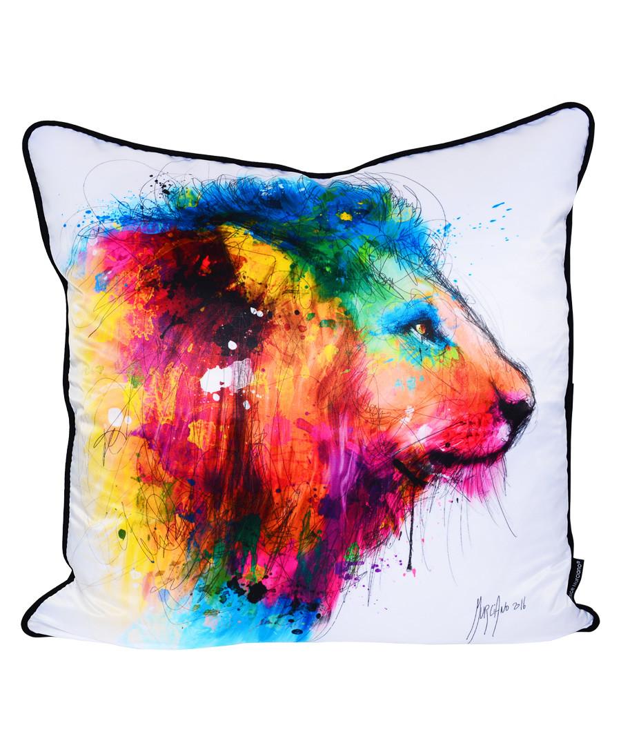 Lion white cotton blend cushion 55cm Sale - 1Wall