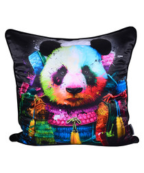 Panda Samurai cotton blend cushion 55cm