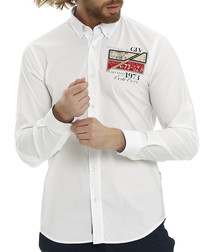 Eielson white pure cotton patch shirt