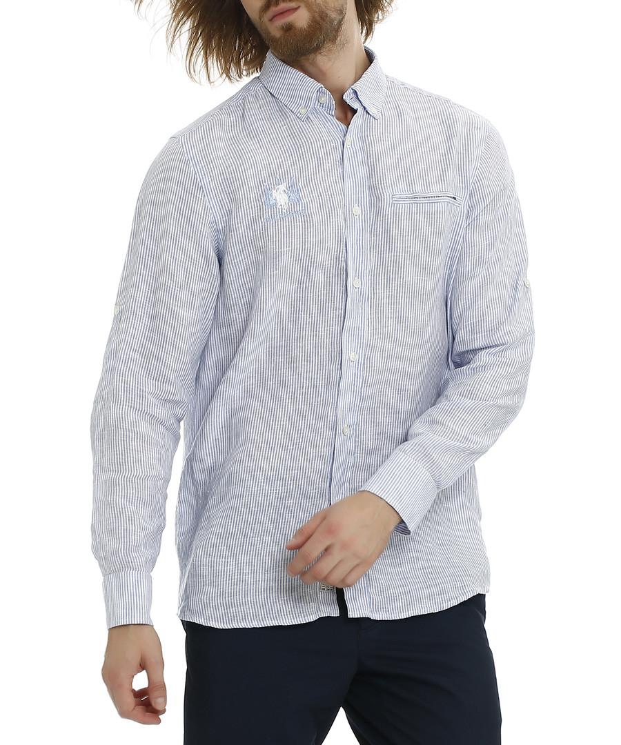 Edna blue bell pure linen striped shirt Sale - galvanni