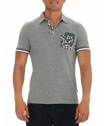 Cool grey melange pure cotton polo shirt