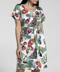 Multi-coloured butterfly print dress