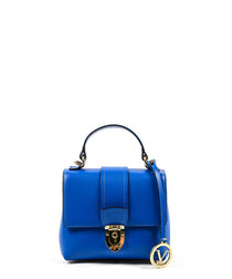Electric blue leather fold over grab bag