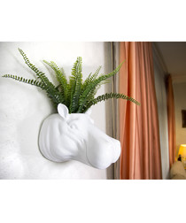 White hippo flower pot