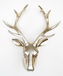 Gold-tone deer head wall decoration