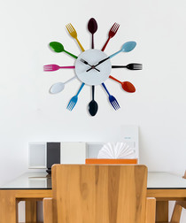 Multi-coloured metal cutlery wall clock