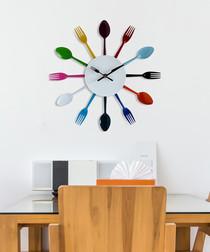 Multi-coloured metal cutlery wall clock