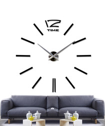 Black clock wall sticker