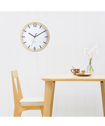 Natural-tone timber wall clock