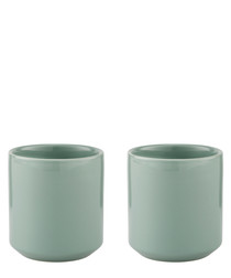 2pc Core green porcelain thermal cup set