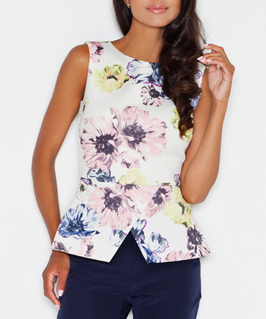 White & pink floral sleeveless top  Sale - figl