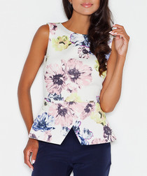 White & pink floral sleeveless top