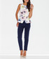 White & pink floral sleeveless top  Sale - figl Sale