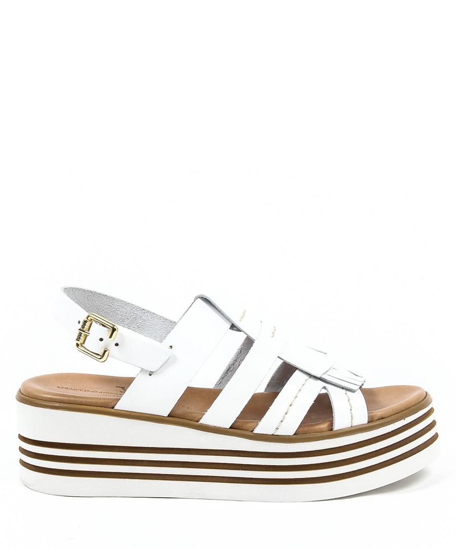 Women's White leather platform sandals Sale - V ITALIA BY VERSACE 1969 ABBIGLIAMENTO SPORTIVO SRL MILANO ITALIA