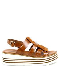 Tan leather slingback platform sandals