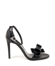 Women's Black leather bow strappy heels