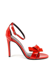 Women's Red leather bow strappy heels