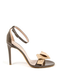 Taupe leather bow detail strappy heels