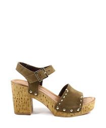 Khaki leather stitch platform sandals