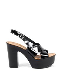 Women's Black leather slingback platforms
