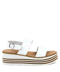 White leather stripe flatform sandals